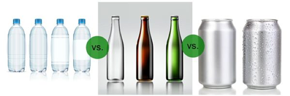pet bottles vs glass and cans