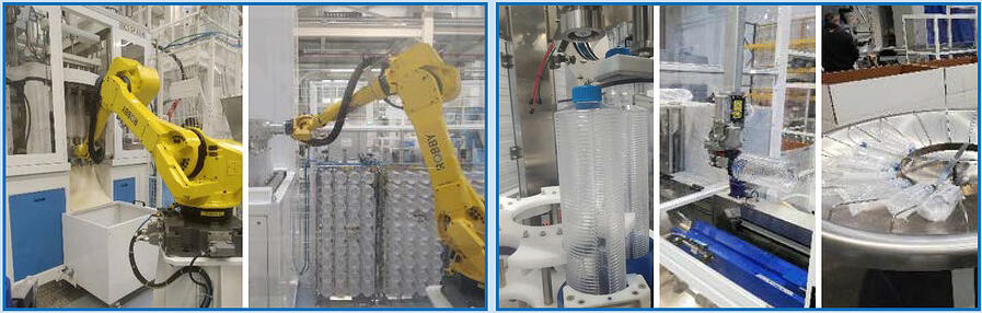 polystyrene bottle packaging: automatic robot